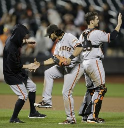 Bumgarner ended the Mets season via a 4-hit shutout. Gillaspie's 9th inning 3-run HR off Familia wins it.