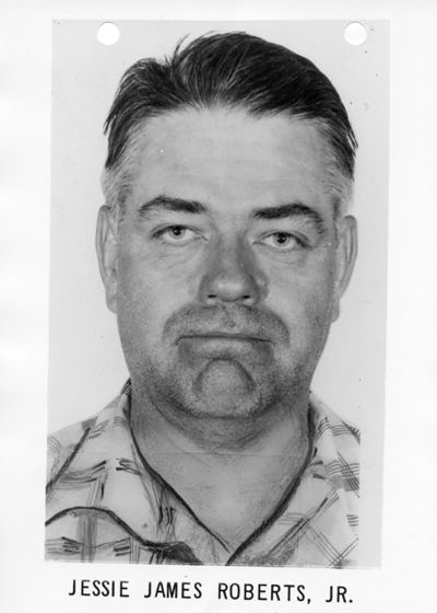 A mug shot of 1960s bank robber Jesse James Roberts (note the misspelling of his forename). Image Credit: Courtesy of Edward Smith / Find a Grave