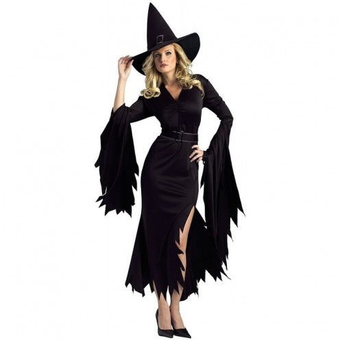 You can be a traditional witch while still looking gorgeous and elegant thanks to this unique-looking black-colored witch costume with ruffles.