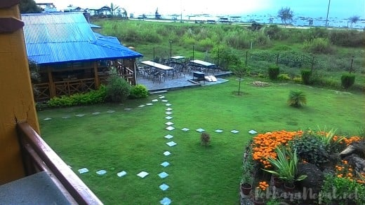 A view of the Lakefront Hotel garden - you can also seek Pokhara Lake