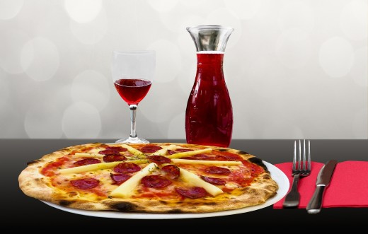 For Lousy Feelings Nothing Beats Pizza and a Glass of Wine  -  Right?