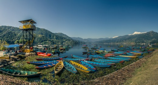 Panorama view of Phewa Lake, Pokhara