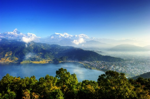 Pokhara city view from mountains