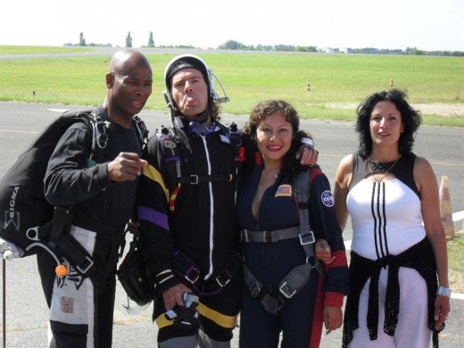 """From left to right: Joinville the """"Shaft jumpmaster"""", Juju the camera man, me and personal assistant."""