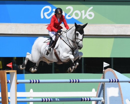 Meredith Michaels-Beerbaum riding Fibonacci at the 2016 Rio Olympic Games.