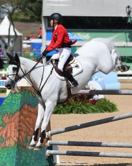 Meredith Michaels-Beerbaum riding Fibonacci at the 2016 Rio Olympic Games.