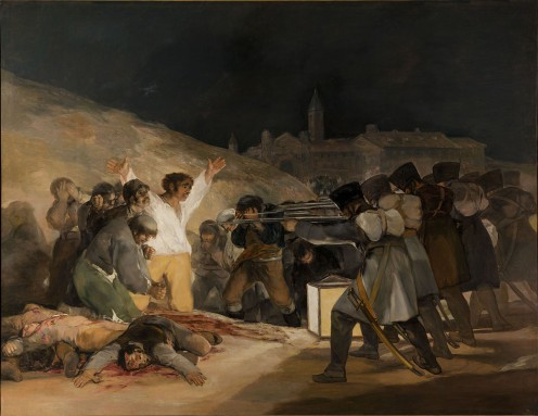 Artist:	Francisco Goya Year:	1814 Medium:	Oil on canvas Dimensions:	268 cm × 347 cm (106 in × 137 in)[1] Location	: Museo del Prado, Madrid