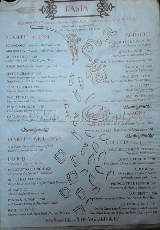 Caffe Concerto menu