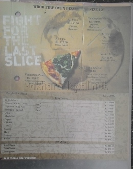 Godfather's Pizzeria menu