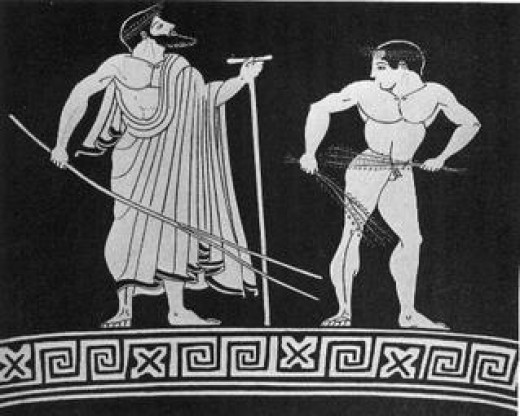 An image depicting the process of a  training a young Spartan boy.