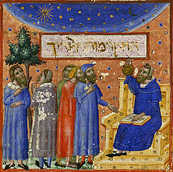 Depiction of Maimonides teaching students about the 'measure of man' in an illuminated manuscript.