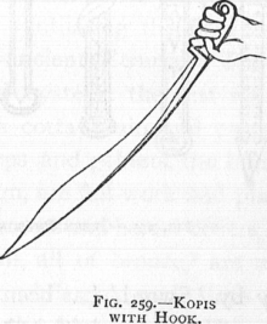 Drawing of a kopis in action, from Richard Burton's The Book of the Sword, 1884