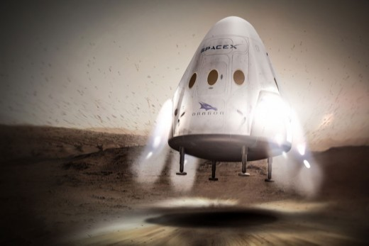 Illustration of SpaceX Landing a Capsule on Mars
