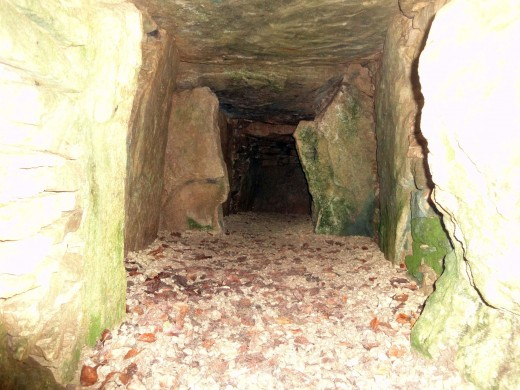Chambers inside the Neolithic burial ground, Uley, Gloucestershire, England.