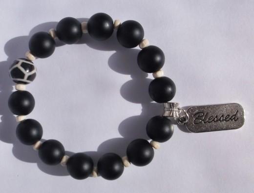 Matte Black Onyx Charm Bracelet