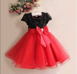 Knit Velvet Bubble Dress For Girls-Perfect for Christmas, Valentine's Day, or a Special Party