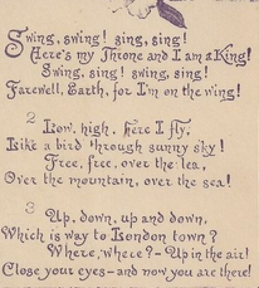 Swing song etching - 1886 ANTIQUE ART PRINT