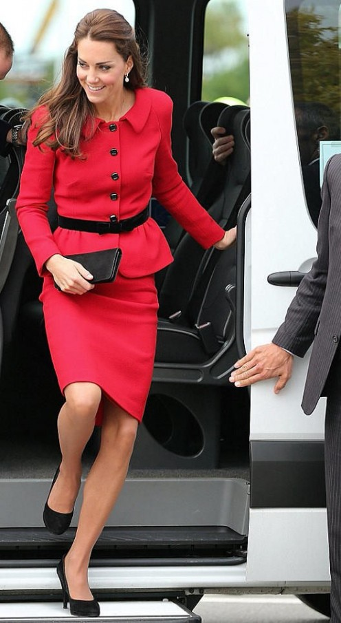 Kate looks stunning in red