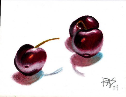 "Cherries, 8"" x 11"" oil pastel on paper, by Robert A. Sloan"