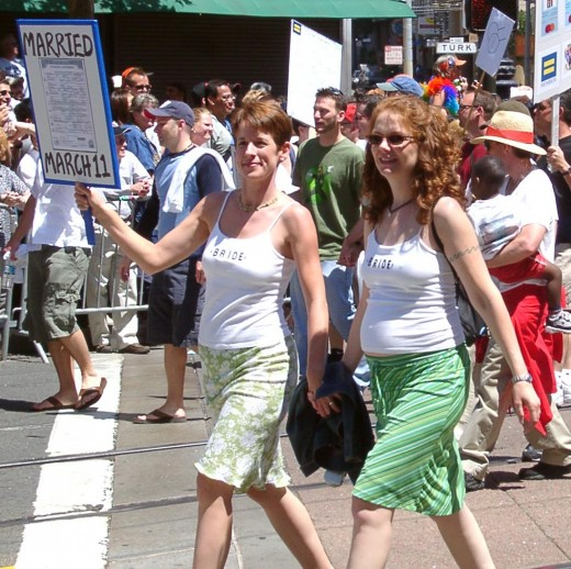 Lesbian married couple  at San Francisco in the USA