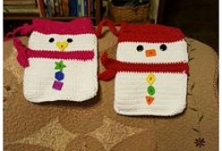 Crocheted Snowmen Bags