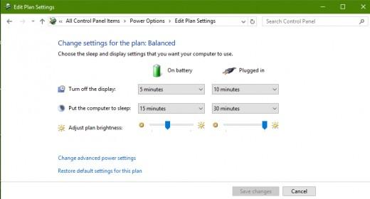 Edit Laptop Plan Settings