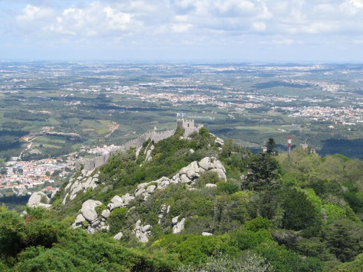 Castle of Moors with Sintra village in the foot of the mountain