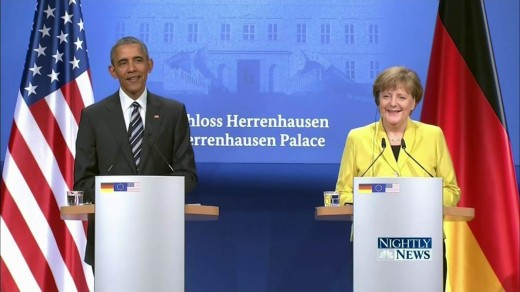 U.S. President Barack Obama with German Chancellor Angela Merkel.