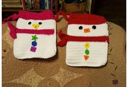 The snowman ornament and snowman gift bag make a sweet pair!