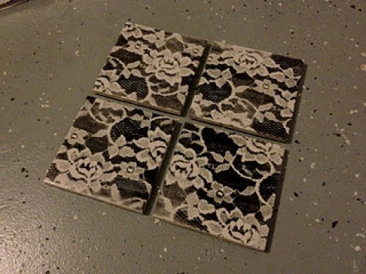 diy coasters lace spray paint and pictures hubpages. Black Bedroom Furniture Sets. Home Design Ideas