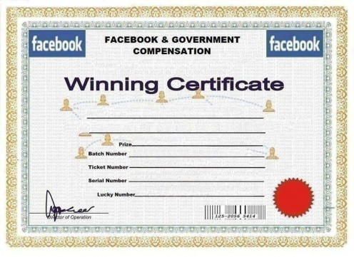 To convince you more that you have won, they will send you a winning certificate looking like this one with your details