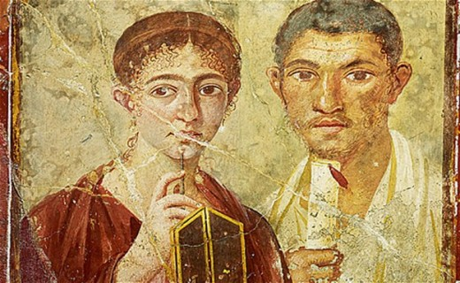 Portrait of the Baker, Terentius Neo and his wife, from the atrium of a house in Pompeii, 1st century AD (fresco on plaster. Terentius wears a toga