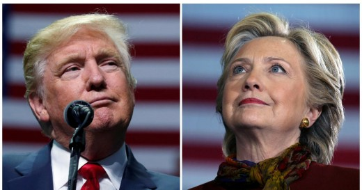 Candidates for President Donald Trump and Hillary Clinton.