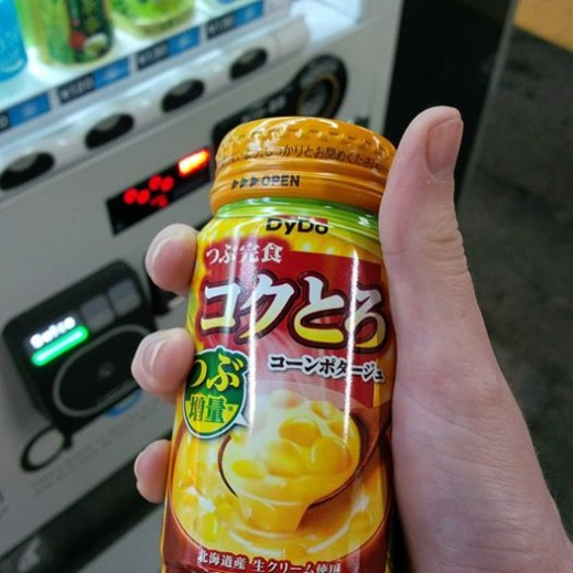 Corn potage soup in a can