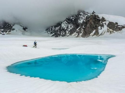 The start of melting inn the polar ice caps.