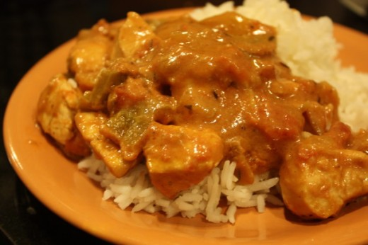 Creamy Ginger Chicken With Plain Rice
