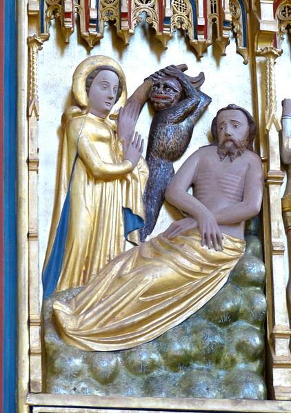 Bad Doberan ( Mecklenburg ). Minster: Altar of Cross - Christ side ( 1370s ): Job gets mocked by his wife and the devil.