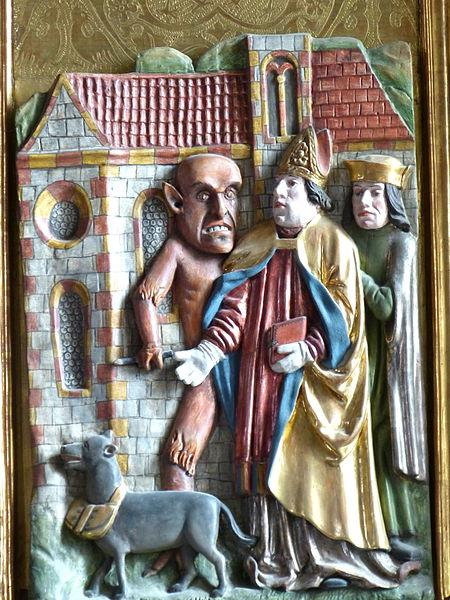 Waldburg ( Upper Austria ). Saint Mary Magdalene parish church: Altar ( 1520 ) of Saint Wolfgang, by Lienhart Krapfenbacher