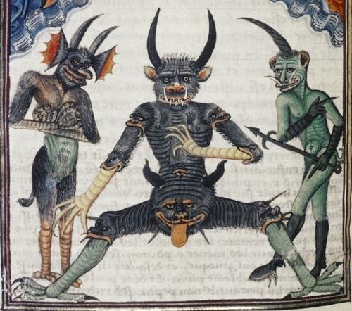 Lucifer waiting for the Last Judgement Livre de la Vigne nostre Seigneur f. 067v 1450-1470