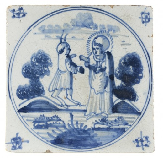 Tile with Christ and the Devil, Museum Catharijneconvent, Utrecht, Holland