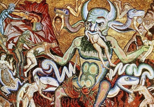 The hell mosaic 13th century, Marcovaldo baptisterium, Florence, Italy