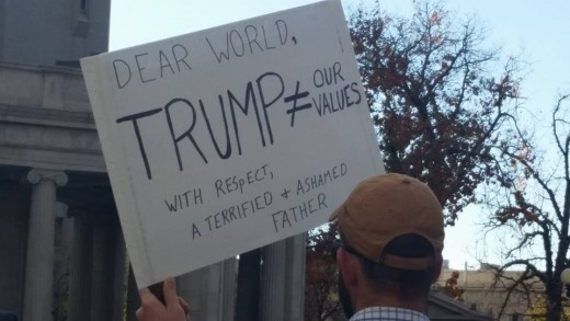 Anti-trump sign at the Denver rally.