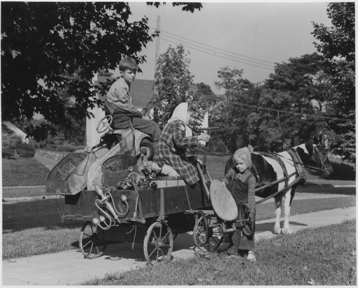 The charge of the scrap brigade in Roanoke, Virginia, includes such methods of collecting as this pony cart.
