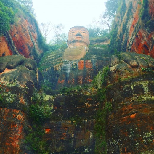 Big Buddha, Leshan, Sichuan Province. Notice the low level viewpoint so to capture the enormity of the buddha.