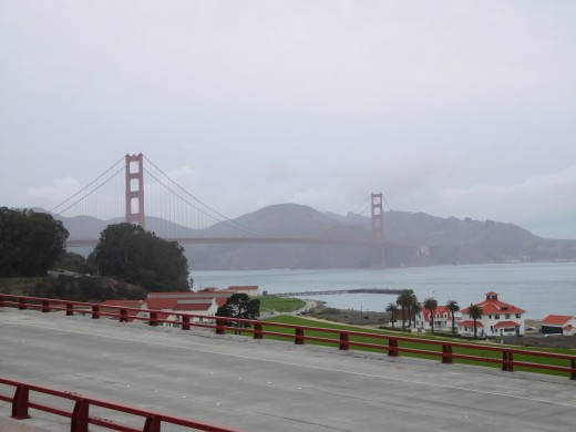 The Golden Gate Bridge shrouded in fog.