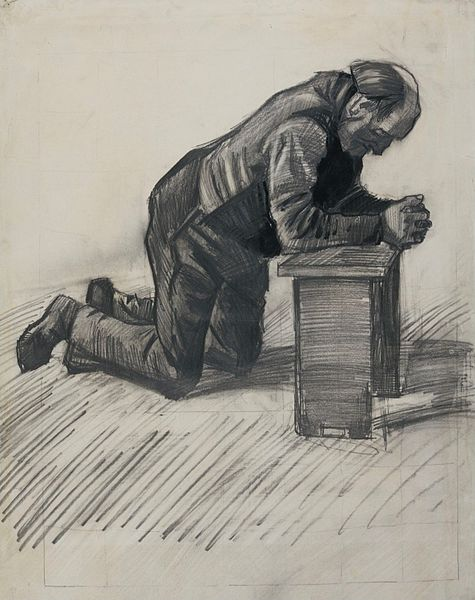 Old Man Praying  pencil drawing by  master artist,  Vincent van Gogh