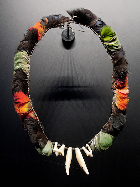 Necklace of the Urubu Ka'apor people with Mealy Amazon, Alagoas Curassow, and Scarlet Macaw feathers, and ocelot teeth.