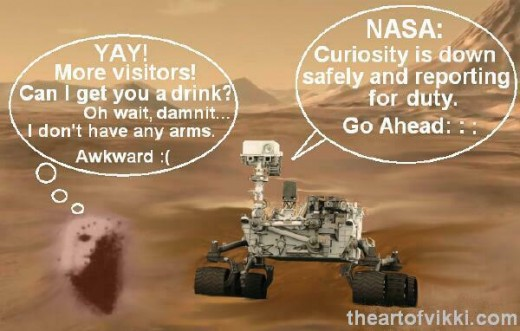 Cartoon of Mars featuring Martian rover meeting the alleged face on Mars.