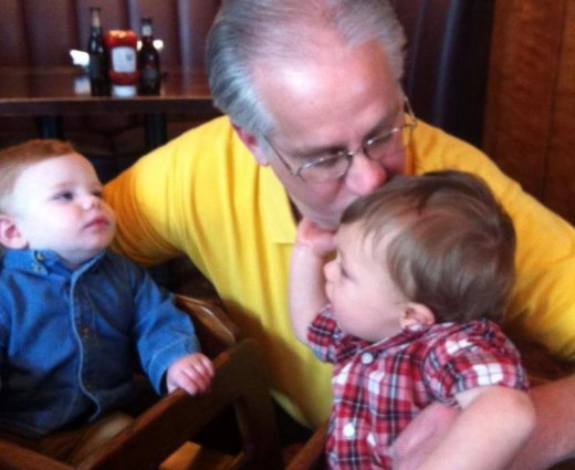 My husband with the 2 youngest of our 5 grandsons. He has always been a great Dad, but the love he has for the grandsons is a touching thing to see.