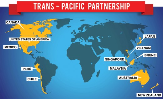Map of the Countries to be affected by TPP